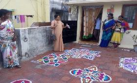 Kolam Competition was conducted for Women's Day in different places of Chennai